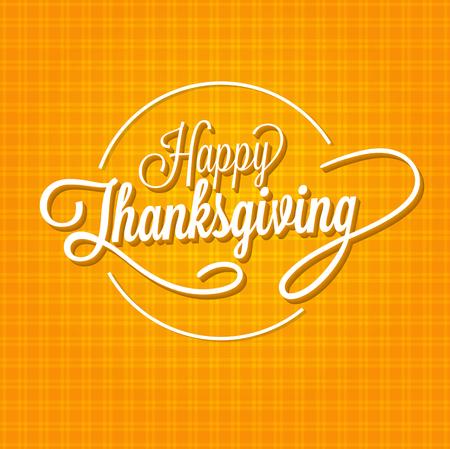 fond de texte: Joyeux Thanksgiving Day Illustration Vecteur. Texte blanc avec ombres sur un fond orange avec des lignes.