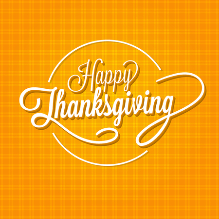 Happy Thanksgiving Day Vector Illustration. White Text with Shadows on an Orange Background with Lines.