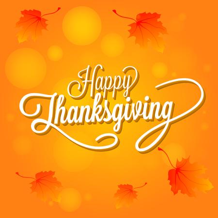 familias felices: Ilustración feliz de Acción de Gracias Día del vector. Texto blanco con sombras sobre un fondo naranja con hojas ..