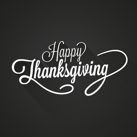 feliz: Ilustración feliz Día de Acción de Gracias Vector. Texto blanco, con sombras sobre un fondo oscuro.