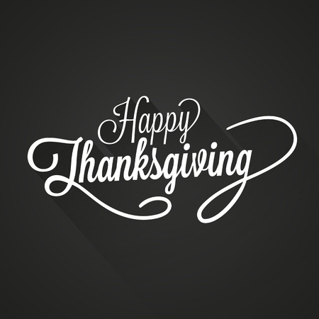 familias felices: Ilustraci�n feliz D�a de Acci�n de Gracias Vector. Texto blanco, con sombras sobre un fondo oscuro.