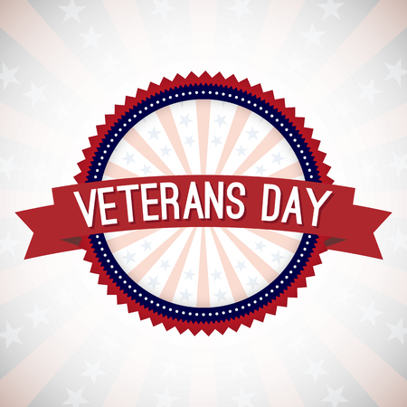 day sign: Veterans Day Badge Vector Illustration. Text on a Banner and Badge with Lines and Stars. Illustration