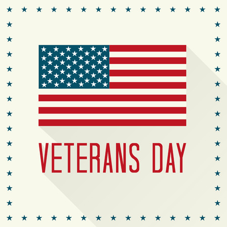 white day: Veterans Day Vector Illustration. Text and American Flag with Shadows and Stars.