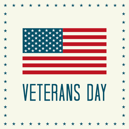 Veterans Day Vector Illustration. Text and American Flag with Stars.