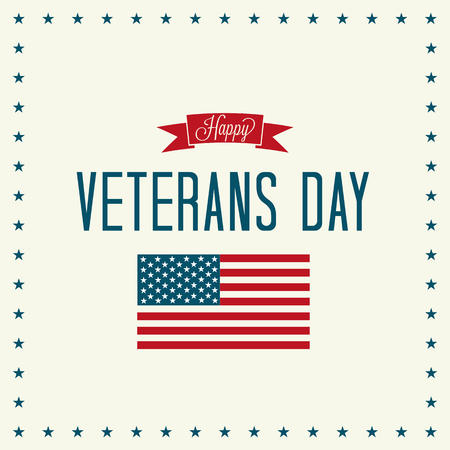 Veterans Day Vector Illustration. Banner, Text and American Flag with Shadows and Stars. Illustration