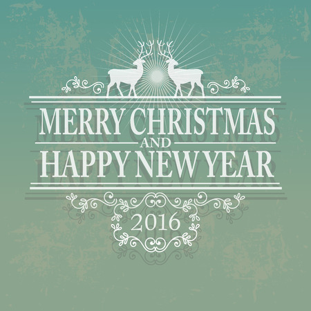 discount banner: Hand Lettered Text with Christmas Ornaments, Deers on a Green Background.