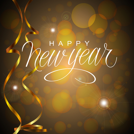 Happy New Year Vector Illustration. Hand Lettered Text on a Golden  Black Background. Illustration