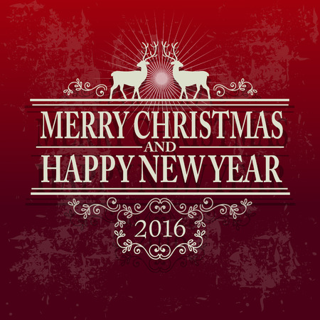 Merry Christmas and Happy New Year Vector Illustration. Text with ornaments on a Red Background.