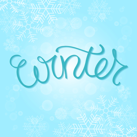 hand lettered: Winter Card Vector Illustration. Hand Lettered Text with Snow Symbols on a Blue Background. Illustration