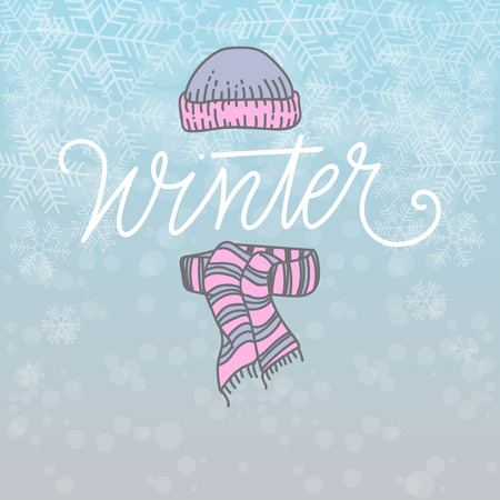beanie: Hello Winter Card Vector Illustration. Beanie and Scarf, Hand Lettered Text with Snow Symbols on a Blue Background.