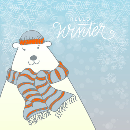 beanie: Hello Winter Card Vector Illustration. Polar Bear with Beanie and Scarf, Hand Lettered Text with Snow Symbols on a Blue Background.