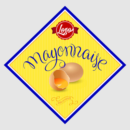 mayonnaise: Mayonnaise Label. Vector Illustration with Hand Lettered Text and Eggs Illustration.