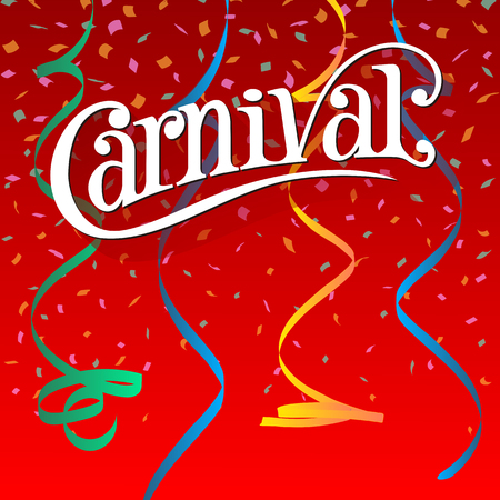 school carnival: Carnival Festive background with ribbons and confetti.
