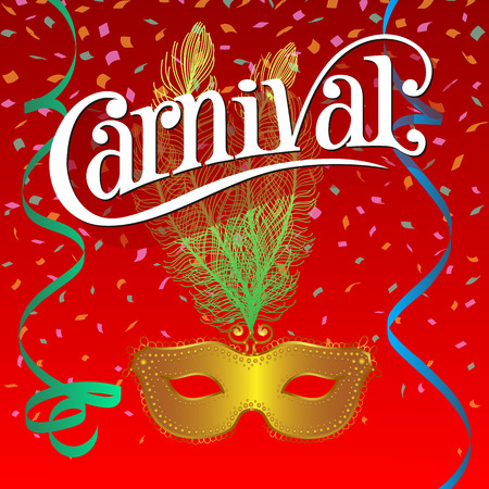 traditional background: Carnival Festive background with mask, ribbons and confetti.