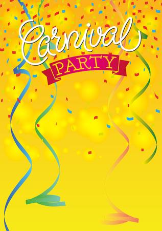 mascaras de carnaval: Carnaval festivo fondo del cartel con cintas y confeti. De mano con letras de texto. Vectores