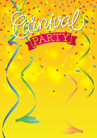 party: Carnival Festive background Poster with ribbons and confetti. Hand Lettered Text.