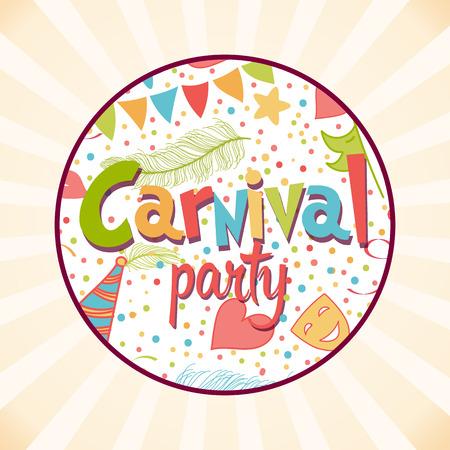 Fondo de fiesta de carnaval con máscaras, sombreros, estrellas y más objetos. Ilustración de vector