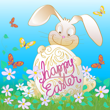 eater: Happy Easter Bunny Illustration. Hand Lettered text and Bunny hiding behind an Eater Egg with flowers and butterflies all around. Illustration