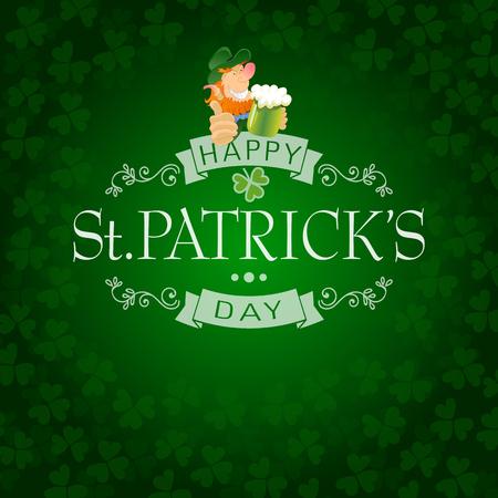 hand lettered: Hand Lettered Saint Patricks Day Background with Leprechaun and Shamrocks Vector Illustration. Illustration
