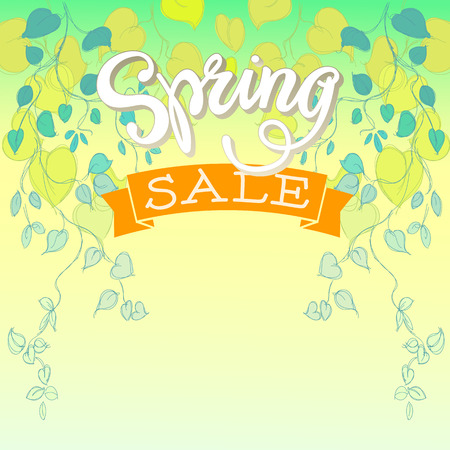 hand lettered: Spring Sale with Hand Lettered Text and Hand Drawn Leaves.