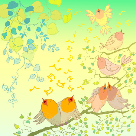 springtime: Background with Hand Drawn Spring Leaves and Birds Chirping. Illustration