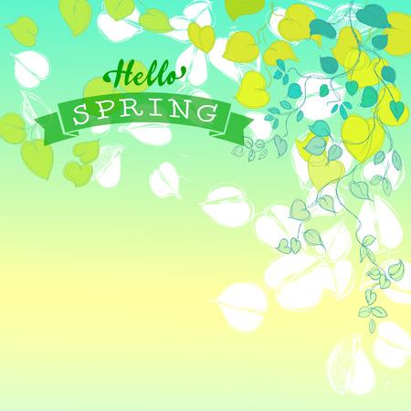 こんにちは春手に文字テキストと手描きの葉。