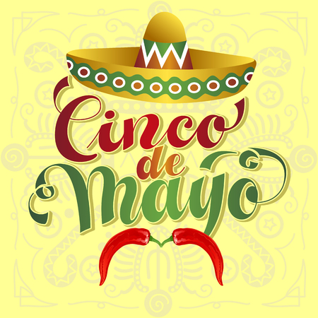 Cinco de Mayo Illustration. Lettered text with Chili Moustache