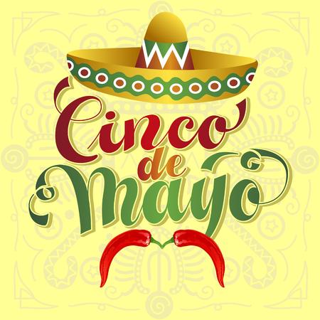 hispanics: Cinco de Mayo Illustration. Lettered text with Chili Moustache