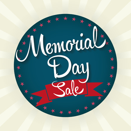 sale icons: Memorial Day Sale Badge Illustration. Text with Stars.