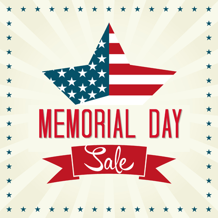 Memorial Day Sale Illustration. Star with American Flag. 向量圖像
