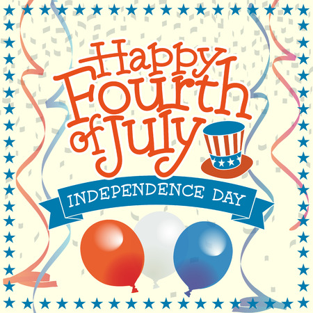 hand lettered: 4th of July Vector Illustration with Hand Lettered Text, Stars, Balloons and more.
