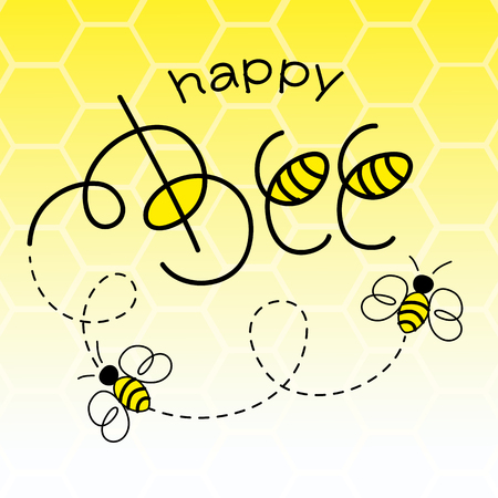bee cartoon: Happy Bee Vector Illustration. Hand Lettered Text with Bees.