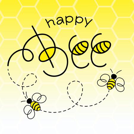 abeja caricatura: Ilustración feliz de la abeja del vector. Letras de la mano de texto con las abejas.