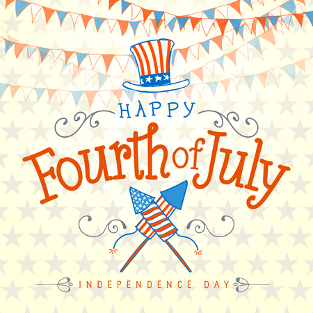 Happy Fourth of July. Vector Illustration with Hand Lettered text, Hat, Fireworks and ornaments.