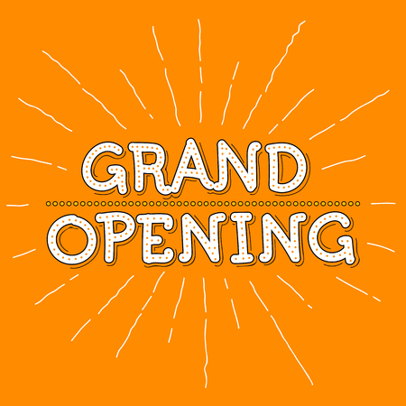 grand sale icon: Grand Opening Illustration. Hand Lettered Text with rays and orange background. Illustration