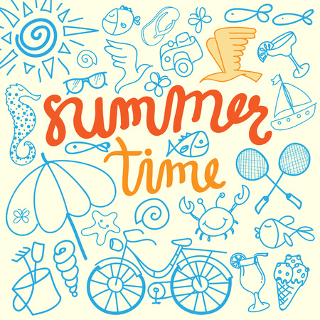 summer time: Summer Time Illustration. Hand Lettered text with Bird, Camera and more