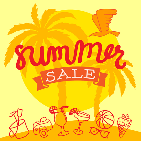 hand lettered: Summer Sale Illustration. Hand Lettered text with Bird, Camera and more Illustration