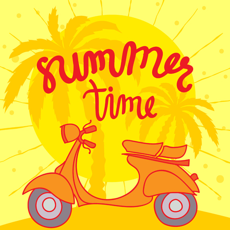 summer time: Summer Time Illustration. Hand Lettered text with Scooter Illustration and palms in the background.