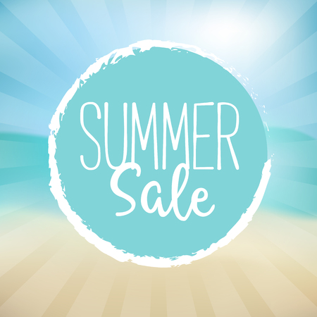 Summer Sale Illustration. Text on a Blue Badge and a Beach Background.