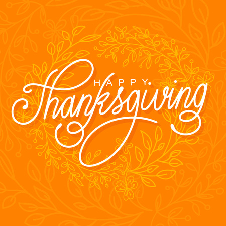 hand lettered: Happy Thanksgiving vector illustration. Hand lettered text and hand drawn ornaments