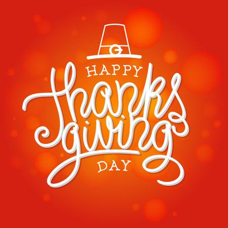 Happy Thanksgiving vector illustratie. Hand letters de tekst en met de hand getekende ornamenten