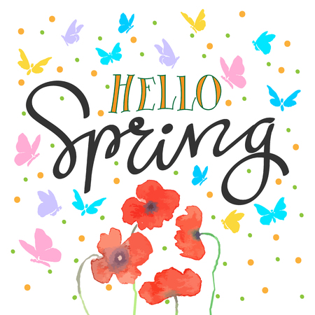hello spring with flowers and butterfly. letter hand. vector illustration Illustration