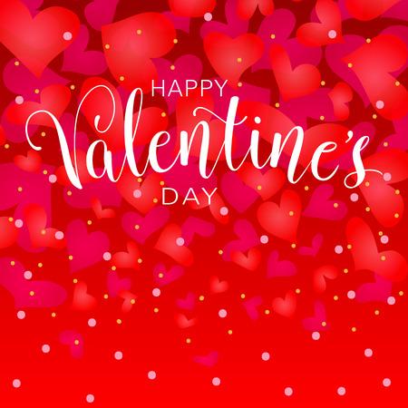 Gelukkige valentijnskaartendag met harten. Hand vectorillustratie belettering