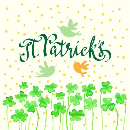 St Patricks Day card design, vector illustration. - Illustration Ilustrace