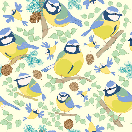 Birds.Blue tit pattern. vector illustration