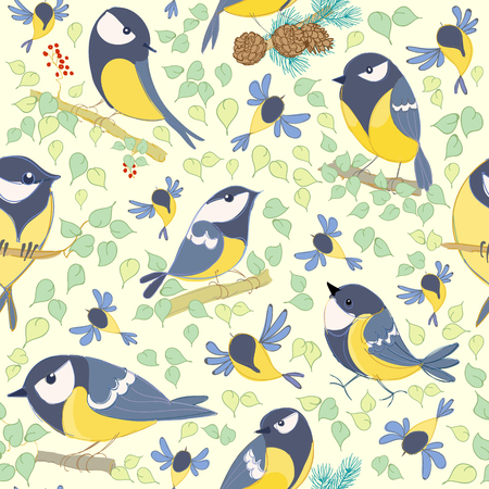 Great tit pattern. Cartoon birds. Hand drawn. vector illustration