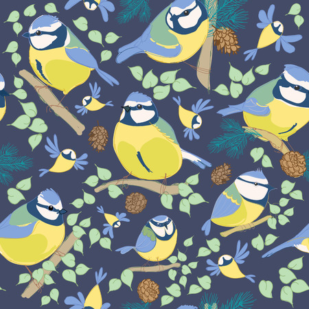 Blue tit pattern. Cartoon birds. Hand drawn vector illustration 矢量图像