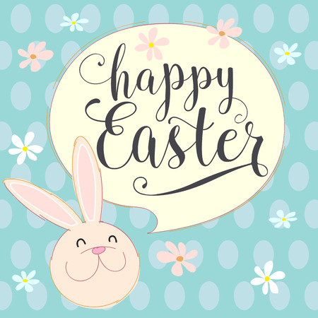 happy: happy easter bunny With. Hand made vector illustration