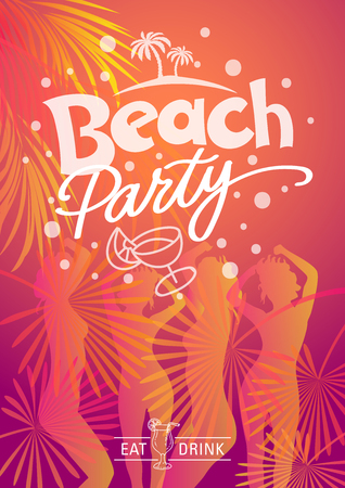 Summer Beach Party. Eat and drink Hand made illustration vector