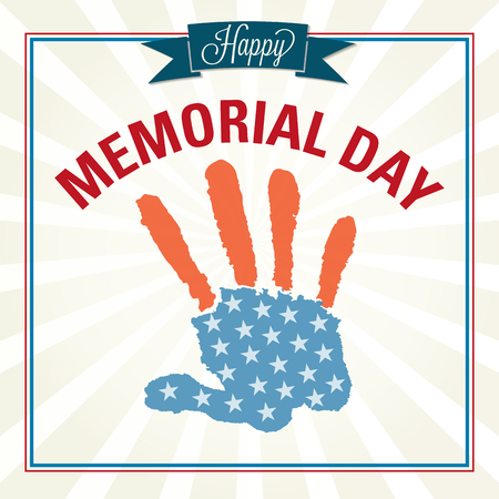 Happy Memorial Day. Hand made vector illustration